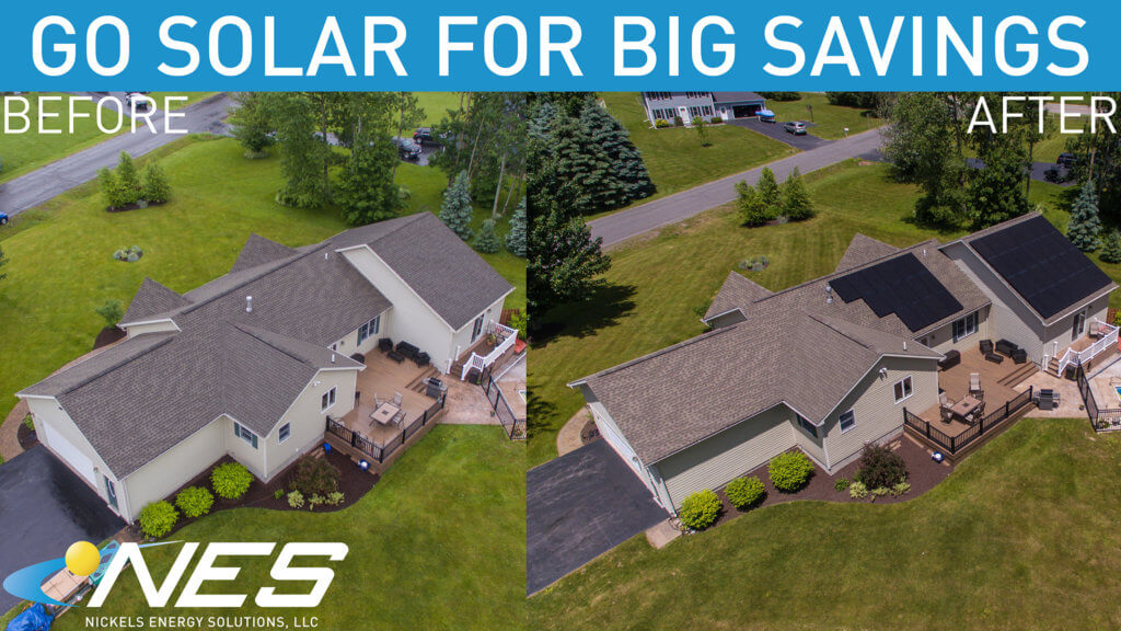 roof mounted solar panels before and after photo