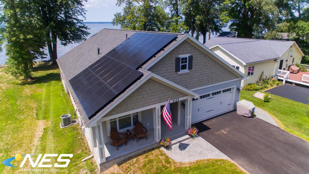 roof mounted solar panels installed on the Zecher home